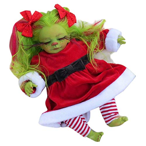 NSSTAR Reborn Baby Doll Realistic,Christmas Green Geek Plush Toy Real Touch Lifelike Cartoon Doll Christmas Simulation Doll Gift Toys For Kids