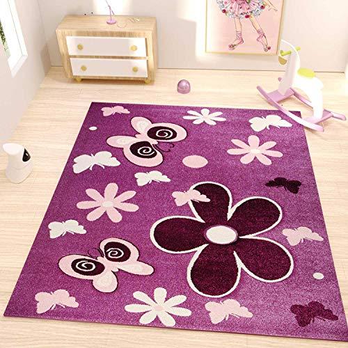 VIMODA Kinder Teppich Lila Pink Blumen Schmetterlinge, Maße:160x230 cm