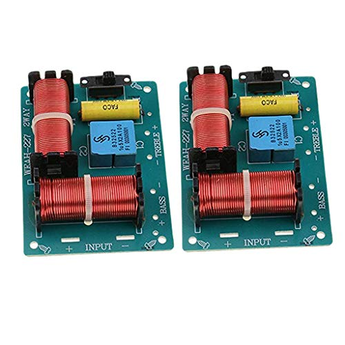 perfk 2 Pièces Module Diviseur de Fréquence Haute Basse HiFi Audio Haut-Parleur Crossover 2 Voies 100W Filtres