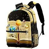 Z&Q Schultasche Astronomie buchen ergonomischer Leichtgewicht Schultaschen Kinderrucksack für Teenager Mädchen Jungen 29.4x20x40cm