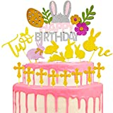 BESLIME Happy Birthday Cake Pie Topper, Glitter Easter Cake Topper, Cake Decor for Easter