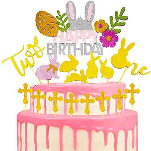 Happy Birthday Cake Pie Topper - BESLIEM 16 pcs Cake Decorations Food Picks Animal Theme Party Supplies,Easter Theme Party Decorations