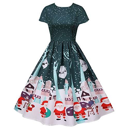 Frauen 50er Vintage Rockabilly Damenkleid Ärmellos Retro für Sommer Floral Damen Kleider Audrey Hepburn Style Midi Swing Freizeit Cocktailkleid Tea Party Abend Ballkleider