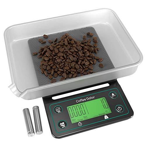 Coffee Gator Digitale Kaffeewaage mit Timer – Großes, helles LCD-Display – Multifunktionswaage für die Zubereitung von Kaffee, Speisen, Getränken und dem allgemeinen Gebrauch in der Küche