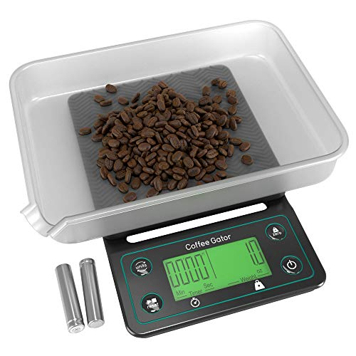 Coffee Scale with Timer - Coffee Gator Digital Multifunction Weighing Scale - Large, Bright LCD Display - Espresso Scale, Coffee Brewing, Food, Drink and General Kitchen Use