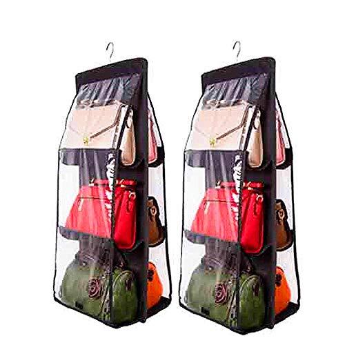 DSTong Handtaschen-Organizer für 6 Taschen, Vliesstoff, durchsichtig, Aufbewahrungstasche, Hängeorganizer Schwarz