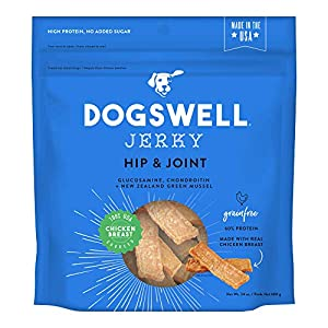 Dogswell Jerky Hip and Joint Dog Treats Grain Free Made in USA Only, Glucosamine and Chondroitin, 24 oz Chicken