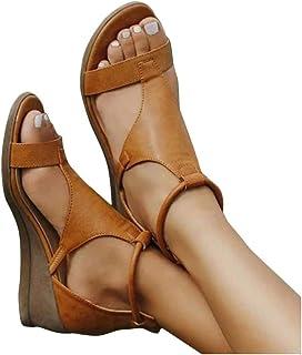 ORANDESIGNE Femme Sandales à Compensées Plates Plateforme en Cuir Synthétique Sandales à Bout Ouvert Eté Confort Rome Sand...