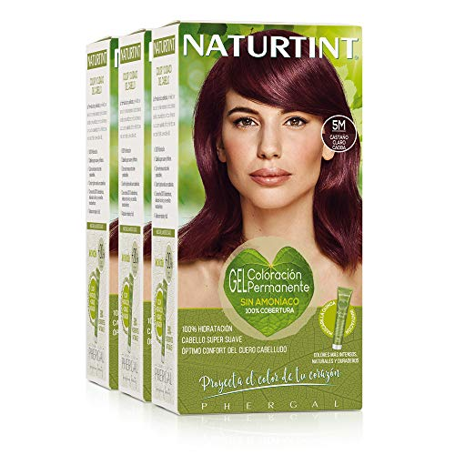 Naturtint Coloración. Tinte sin Amoniaco.100% Cobertura de Canas. Ingredientes y Aceites Vegetales. Color Natural. 5M Castaño Claro Caoba. Pack de 3