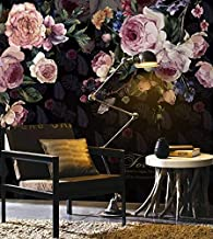 Murwall Dark Floral Wallpaper Vintage Pink Flower Wall Murals Feather Pattern Wall Print Classical Home Decor Cafe Design Living Room Entryway
