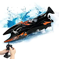 👨Blast to Sail with 15Km/H Speed -- The Remote Control Boat equiped with power premium brushless motors will race at 10mph and blow other radio control boats out of the water! It's super fast speed bring you a really fun rc boat. 👨Waterproof & Sealed...