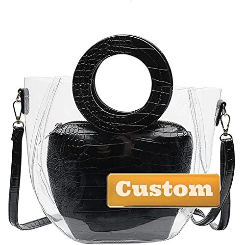 RXDZ Bolso personalizado con nombre personalizado y mochila de cuero genuino para mujer (color negro, tamaño: talla única)