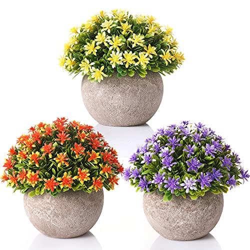 Künstliche Topfpflanze, 3 Stücke Künstliche Blumen mit Töpfen Künstliche Pflanzen Tischdeko Haus Balkon Büro fensterbank deko (3 Farbe)