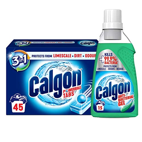 Calgon 3-in-1 Waching Machine Water Softener Gel and 45 Tablets Bundle