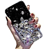 Bling Diamond iPhone 8 Plus Case,Apple iPhone 7 Plus Bling Glitter Clear Crystal Full Diamonds Luxury Sparkle Transparent Rhinestone Protective Phone Case Cover with Bumper for Woman Girl-White&Black