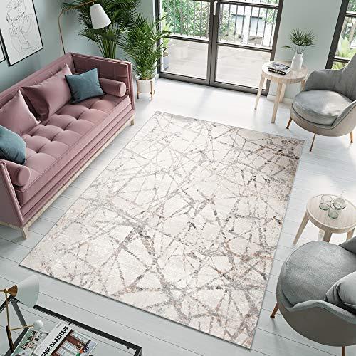 Tapiso Valley Alfombra de Salón Comedor Dormitorio Diseño Moderno Beige Crema Gris Abstracto Rayas Suave 140 x 200 cm