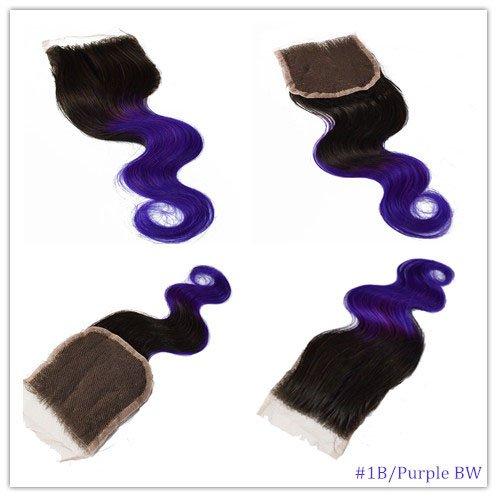 100% cheveux naturels vierges Wave Texture Fermeture Dentelle Suisse sur le dessus 10,2 x 10,2 cm supplémentaire gratuit avec blanchis Couleur 1B/viol