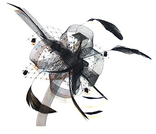 Stunning Black Net Bow with feather tendrils fascinator ,Set On Ribbon Bound comb ,Ideal Weddings ,Races ,Ladies day or any Special occasion