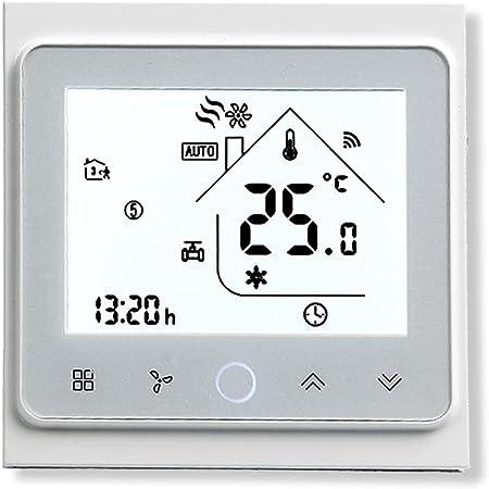 BecaSmart Series 002 Termostato Inteligente Wi-Fi Pantalla táctil Termostato de Sala Dos Tubos para Aire Acondicionado Fan Coil con conexión WiFi para Soporte Voz Inteligente (Dos Tubos, Blanco)