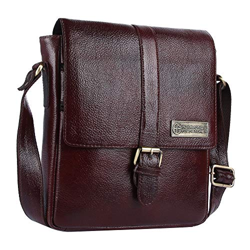 HAMMONDS FLYCATCHER Men's Original Bombay Leather Messenger Bag| Sling Bag| Padded Laptop Compartment| Office Bag (L=9, B=3, H= 11inch, Brown ) SB1164