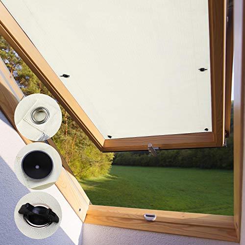 KINLO Dachfensterrollo für Velux Dachfenster 76 x 115cm - P08 Und 408 beige Beschichtung Verdunkelungsrollo Sonnenschutzrollo aus Polyester mit Saugnäpfe ohne Bohren 100% Blickdicht