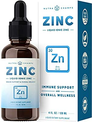 Organic Zinc Sulfate Liquid Supplement - Immune Support System Boost - Pure Ionic Concentrated Mineral Drops for Men, Women & Kids Enhanced with Vitamin C - 4 oz Great Tasting Immunity Booster