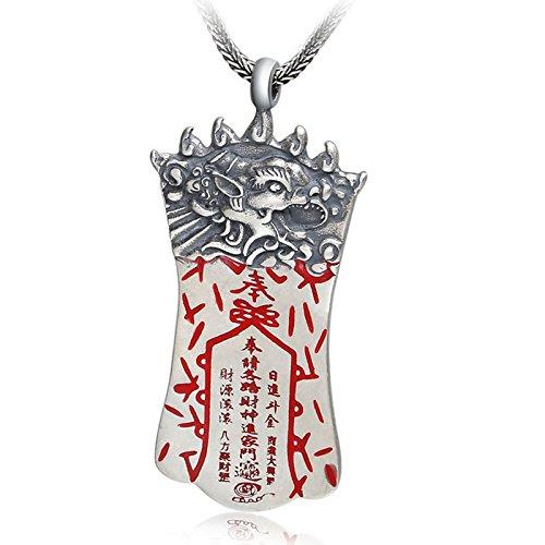 Epinki Plata de Ley 925 Mujer Hombre Collar Animal Perro Etiqueta Colgante Budismo Hombre Collar Plata Red Joyeria de Boda