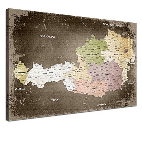 LANA KK - Leinwandbild Österreich Used Österreichkarte - deutsch - mit Korkrückwand zum pinnen der Reiseziele Kunstdruck-Pinnwand auf Echtholz Keilrahmen – Globus in braun, in 80 x 60 cm