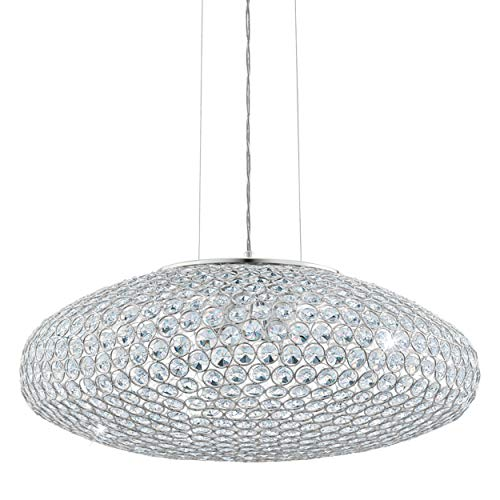 Eglo Clemente - Lámpara de techo colgante, 3 focos, elegante lámpara de techo de acero y cristal en cromo, transparente, lámpara de mesa de comedor, lámpara de salón colgante con casquillo E27