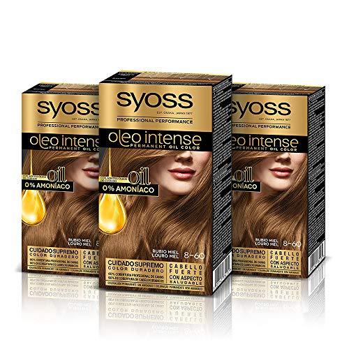Syoss Oleo Intense - Tono 8-60 Rubio Miel (Pack De 3) – Coloración permanente sin amoníaco – Resultados de peluquería – Cobertura profesional de canas