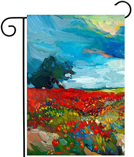ClassicVariety Watercolor Spring Floral Flower Fields Farm Landscape Abstract Artwork House Flag 12' x 18' Double Sided Polyester Welcome Yard Garden Flag Banners for Patio Lawn Home Outdoor Decor