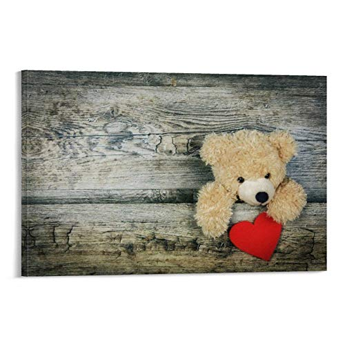 DRAGON VINES Bonito oso de peluche con un corazón de amor, apto para parejas, póster e impresión artística de pared para decoración moderna de sala de estar, 30 x 45 cm.