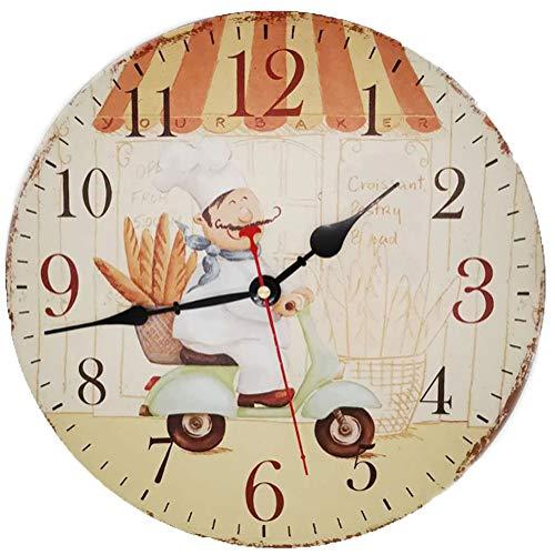 VieVogue Reloj de pared de madera retro, Grande estilo rústico colorido, silencioso Decorativo de madera para regalo hogar oficina, cocina cuarto de bebé sala de estar dormitorio Chef, 34 cm
