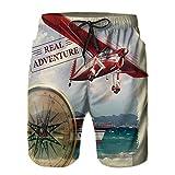 YZBEDSET Bañador De para Hombre Pantalones Playa Shorts, Palabras de Aventuras Reales con litoral y un Viaje en avión Rojo Arte temático de Viajes Secado Rápido Ligero Baño Cortos M