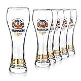 Juego de vasos para cerveza de trigo original de Erdinger de 0,5 l, 6 vasos de cerveza de trigo de 0,5 l, ideales como regalo de cerveza.
