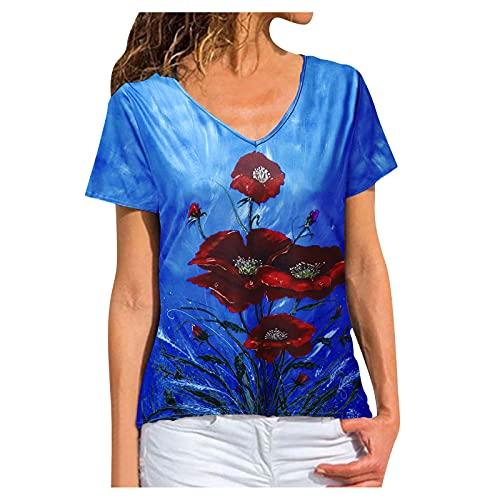 2021 Camiseta Manga Corta de Mujer Casual Blusas Manga Corta Elegantes Verano Camisetas sin Mangas Suelto Túnica T-Shirt de Encaje con Cuello en V Mujer Blusas y Camisas para Mujer
