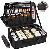 MONSTINA Large Capacity Makeup Case 3 Layers Cosmetic Organizer Brush Bag Makeup Train Case Makeup Artist Box for Hair Curler Hair Straightener Brush Set and Cosmetics