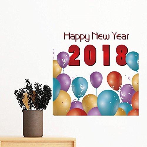 DIYthinker 2018 Ballon Jaar Van De Hond Gelukkig Nieuwjaar Verwijderbare Muursticker Mural Diy Wallpaper Vinyl Room Home Decal Decor