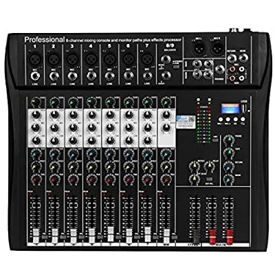 Depusheng DT8 Professional 8 Channel DJ Sound Mixing Console with Bluetooth and 48V Phantom Power USB Jack