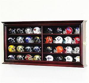 32 Pocket Pro Mini Helmet Display Case Cabinet Holders Rack w/UV Protection, Cherry