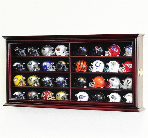 32 Pocket Pro mini Helmet Display Case Cabinet Holders Rack w/ UV Protection, Cherry