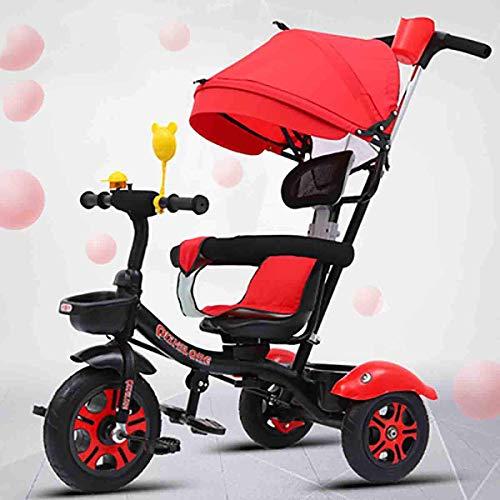 Kinderkraft Dreirad Aveo Trike Kinderwagen Buggy für Kinder mit Drehsitz Sonnenschutz Abnehmbare Elterngriff Fußstütze Pedal Freilaufzubührungshalterhalter Tasche Glocke von 9 Monate bis 5 Jahre P.