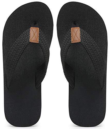 MAIITRIP Mens Flip Flops Size 7Summer Beach Soft Comfortable ShoesNonSlip Rubber Shower Thong SandalsAll Black
