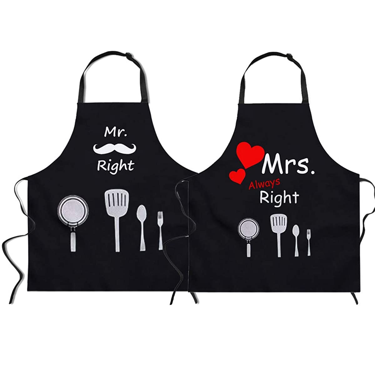 Upetstory Mr. and Mrs. Right Matching Aprons for Newlyweds Couples Grill Aprons Engagement Wedding Gift Set for Hubby and Wifey, Black