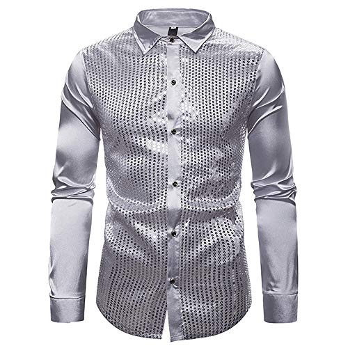 Herrenhemd Langarm Shiny Pailletten Button Down Rero Shirt Party Kostüm Sparkle Stylish Shirt Hochzeitsarbeit Büro Charmantes Shirt Club Tops XL