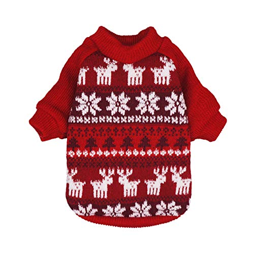 Fitwarm Dog Christmas Sweater Puppy Knitwear Snowflake Pet Winter Clothes Doggie Outifts Pullovers Red XL