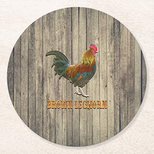 Posavasos para bebidas con base de corcho, marrón Leghorn pollo redondo juego de 4 posavasos para el hogar y la cocina, divertido regalo para el hogar, regalos de Navidad