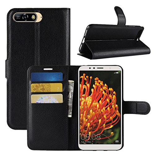 Huawei Y6 2018 Case, Fettion Premium PU Leather Wallet Flip Phone Protective Case Cover with Card Slots and Magnetic Closure for Huawei Y6 2018 Smartphone (Black)