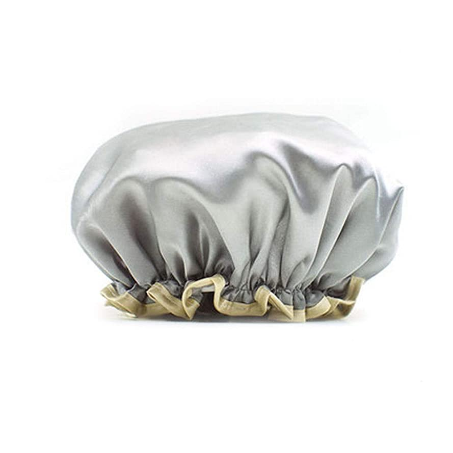シェア自宅で人柄HUCHAOQIXIU シャワーキャップ防水シャワーキャップ大人ブルーピンクシャワーファッション厚みのある防水シャワーキャップレイン防水防水キャップ (Color : Gray)