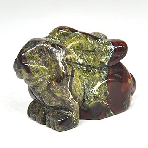 1,5 -Estatua de Conejo Decoración de habitación de Piedras Preciosas Naturales Figuras de Animales de Cristal Piedras talladas, Jaspe de Sangre de dragón